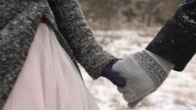 Sluit omhoog video van bruidegom belangrijke bruid die door de hand bij het bos van de het weerpijnboom van de de wintersneeuw ti stock video