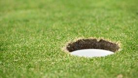 Sluit omhoog video van een golfbal wanneer het in gat rolt stock video
