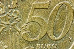 Sluit omhoog vijftig eurocenten Stock Afbeelding
