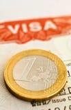Sluit omhoog of Visum en Euro. Stock Foto's