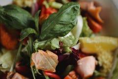 Sluit omhoog voedselbeeld van Gebakken zalm in warme salade Macrovoedselfotografie van gezonde maaltijd royalty-vrije stock foto