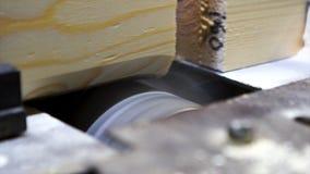 Sluit omhoog voor houten stralen die zich in oppervlakteplaner machine voor houtbewerking met zaagsel bewegen die aan de kanten,  royalty-vrije stock afbeelding