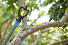 Sluit omhoog Watersproeier in boomgaardtuin Royalty-vrije Stock Foto's