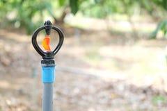 Sluit omhoog Watersproeier in boomgaardtuin Royalty-vrije Stock Afbeelding