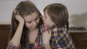 Sluit portret omhoog aanbiddelijk klein jongen het fluisteren geheim aan ouder zustermeisje Houdende van vriendschappelijke famil stock videobeelden