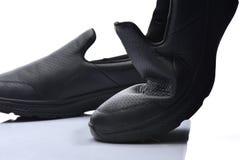 Sluit schoenen van het textuur omhoog de gezonde leer op wh Stock Fotografie