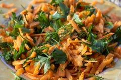 Sluit spruit van verse het kijken wortelsalade op plaat onder mooi zonlicht stock fotografie
