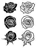 Sluit steeg vectortatoegering, emblemen, bloemensilhouetten stock illustratie