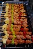 Sluit tot barbecue op vleespennen in grillfornuis Royalty-vrije Stock Foto's