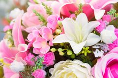 Sluit tot kleurrijk plastic roze lilly bloeit met rozen en l Stock Foto