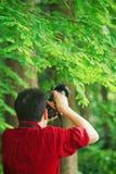 Sluit van de de mensenfotograaf van Aisan omhoog het Chinese werk van de de greepcamera in aard geschotene esdoorn royalty-vrije stock foto's