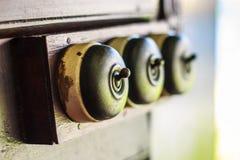 Sluit van detail van een zeer oud licht inschakelen omhoog oude houten textuurachtergronden Royalty-vrije Stock Foto