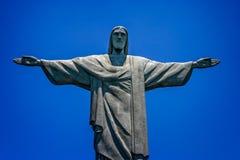 Sluit van Standbeeld van Christus omhoog de Verlosser, Corcovado-Berg, Rio de Janeiro, Brazilië royalty-vrije stock afbeelding