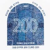 Sluit van twee honderd omhoog euro muntteken Stock Foto's