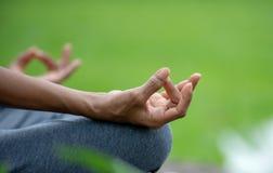 Sluit yoga van de hand omhoog de hogere vrouw en de lotusbloem stelt meditatie en ontspant in het aardpark royalty-vrije stock foto