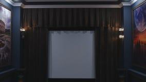 Sluitende gordijnen op Bioscoopfilm stock videobeelden