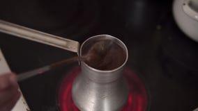 Sluiting van koffie stock video