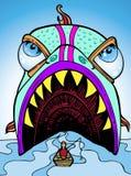 sluka fiskaren royaltyfri illustrationer