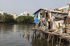 Slum on the bank of Saigon river Royalty Free Stock Images