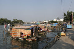 Slum on the bank of Saigon river Royalty Free Stock Photography