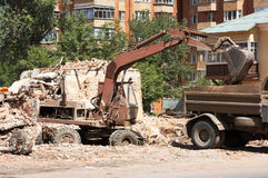 Slum clearance. Demolition of dilapidated shelters, scavenging Stock Photography