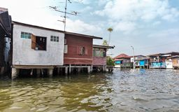 Slum on dirty canal in Thailand Royalty Free Stock Photography