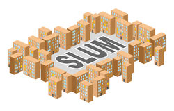 Slum district. Building in  form of letters. Ghetto Poor distric Stock Photos