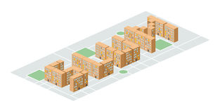 Slum district. Isometric city buildings. Yard among houses. Vec. Tor illustration. Poor district on the outskirts vector illustration