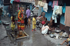 Slum dwellers of Kolkata-India. January 18,2011 Tangra,Kolkata,India,Asia-Children and their minders in a slum area. Kolkata, formerly called Calcutta, is the Royalty Free Stock Image