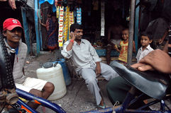 Slum dwellers of Kolkata-India. January 18,2011 Beleghata,Kolkata,India,Asia-Road side slum dwellers of Kolkata. Most of the transient roadside settlements and Stock Photo
