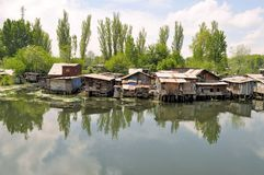 Slum houses near the river, Srinagar, India Royalty Free Stock Photo
