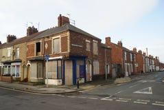 Slum housing, woodcock street, kingston upon Hull. Slum housing crime and vandalism, woodcock street, kingston upon Hull, Yorkshire royalty free stock photography