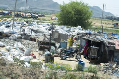 Slum Housing, Poor and Poverty in India Stock Image