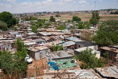 Slum. Illegal houses of the poorest people in Soweto, South Africa Royalty Free Stock Photos