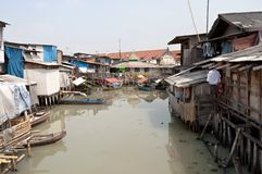 Slum in Jakarta. Slum on dirty canal in Jakarta, Indonesia royalty free stock images
