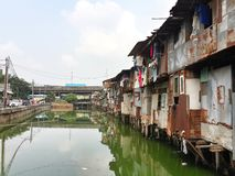 Slum in Jakarta. Rundown houses on the riverbank in Jakarta Stock Photography