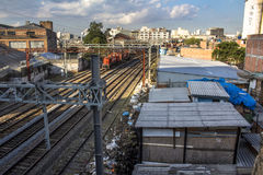 Slum of Moinho. Sao Paulo, Brazil, July 01, 2016. slum of Moinho and railroad of Metropolitan Rail Company, CPTM, acronym in portuguese Royalty Free Stock Image