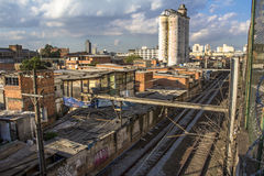 Slum of Moinho. Sao Paulo, Brazil, July 01, 2016. slum of Moinho and railroad of Metropolitan Rail Company, CPTM, acronym in portuguese Royalty Free Stock Photography