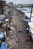 Slum in Mumbai. Slum near railway in Mumbai, India royalty free stock image