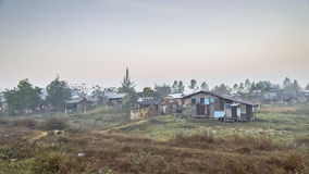 Slum Myanmar. Myanmar shacks by rail from Yangon to Bago Stock Photography