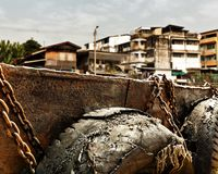 Slum near dock Stock Photography