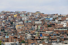 Slum, neighborhood of sao paulo, brazil. Shacks in the favela, neighborhood in Sao Paulo, brazil Royalty Free Stock Image