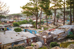 Slum. Poor people slum homes builded outside of Cape Town city royalty free stock image