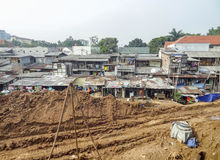 Slum scenery at Jakarta in Java Stock Photography