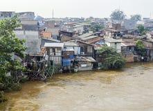 Slum scenery near Jakarta in Java Stock Photo