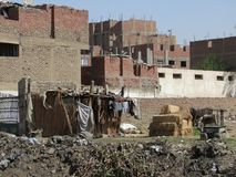 Slum scenery roadside in Giza Royalty Free Stock Photography