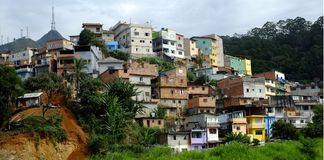 Slum. On neighborhood of Sao Paulo, Brazil royalty free stock image