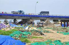 Slum under the bridge in Nha Trang city Stock Images