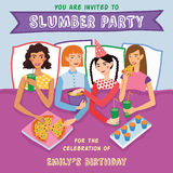 Slumber Party Birthday Invitation With Four Cute Girls Friends Vector Illustration. Ginger, Brunette, Blond And Brown Stock Photography