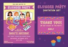 Slumber Party Birthday Invitation Thank You Card Set  Stock Photo